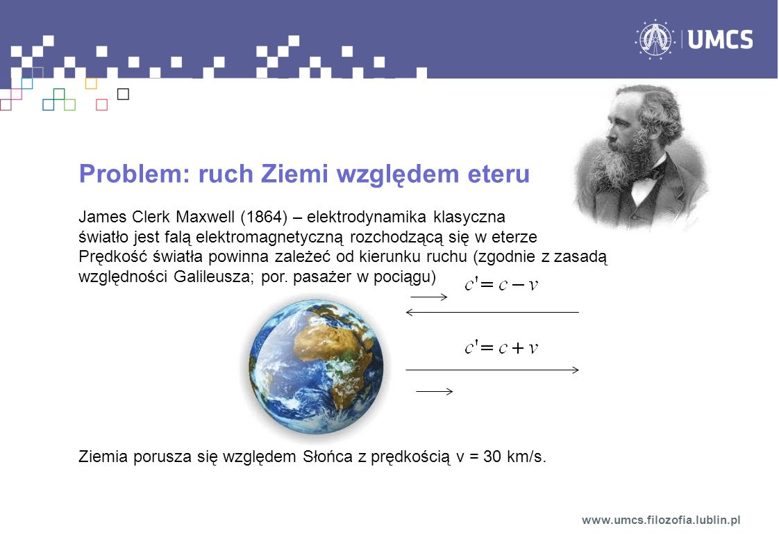 Problem: ruch Ziemi względem eteru
