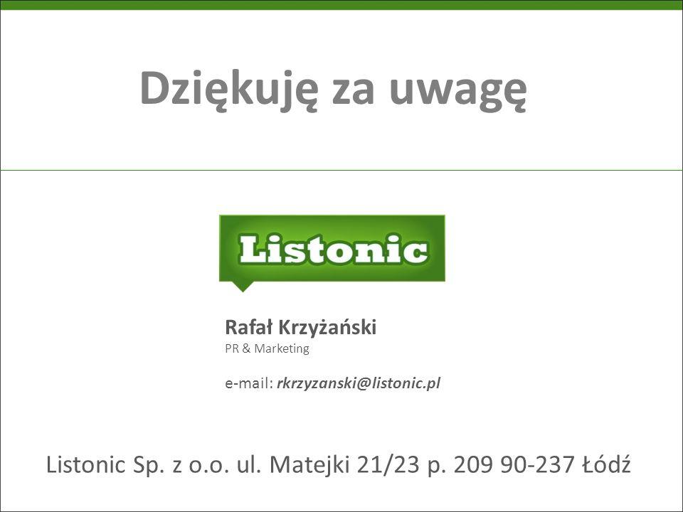 Listonic Sp. z o.o. ul. Matejki 21/23 p. 209 90-237 Łódź