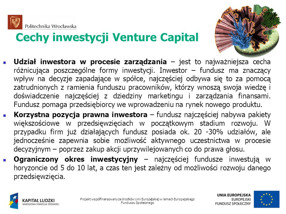Cechy inwestycji Venture Capital