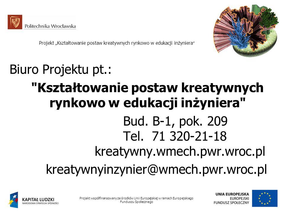 """Projekt """"Kształtowanie postaw kreatywnych rynkowo w edukacji inżyniera Kształtowanie postaw kreatywnych rynkowo w edukacji inżyniera"""