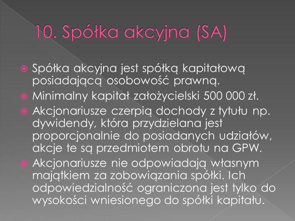 10. Spółka akcyjna (SA) Spółka akcyjna jest spółką kapitałową posiadającą osobowość prawną. Minimalny kapitał założycielski 500 000 zł.