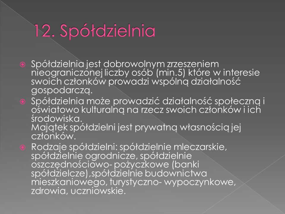 12. Spółdzielnia