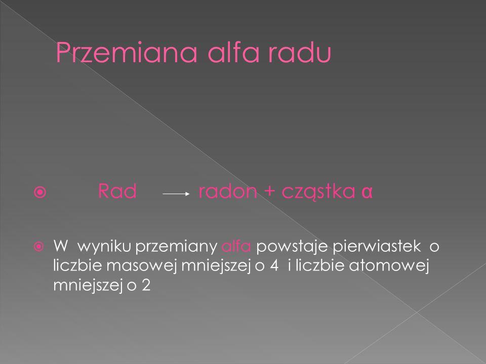 Przemiana alfa radu Rad radon + cząstka α
