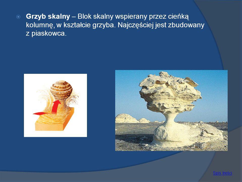 Grzyb skalny – Blok skalny wspierany przez cieńką kolumnę, w kształcie grzyba. Najczęściej jest zbudowany z piaskowca.