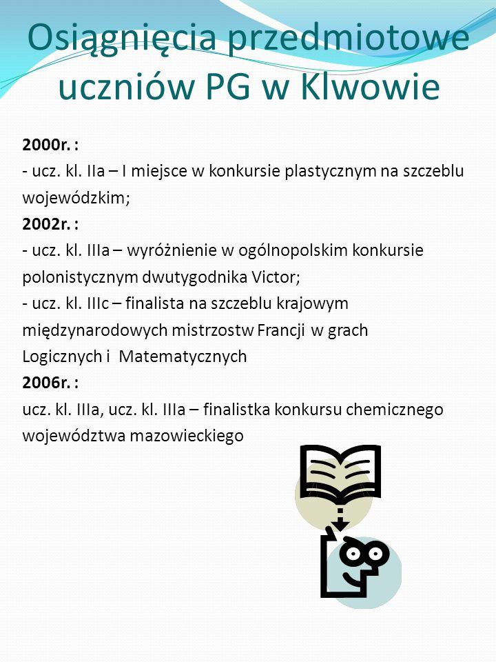 Osiągnięcia przedmiotowe uczniów PG w Klwowie