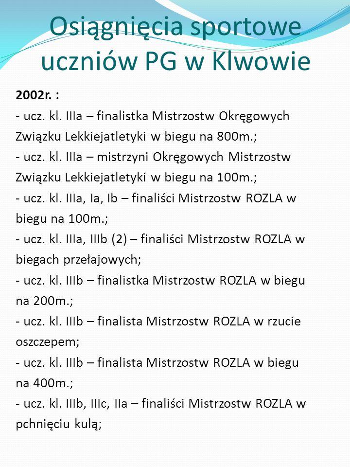 Osiągnięcia sportowe uczniów PG w Klwowie