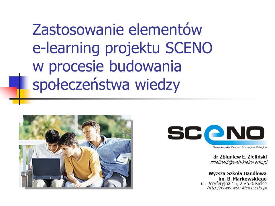 Zastosowanie elementów e-learning projektu SCENO w procesie budowania społeczeństwa wiedzy