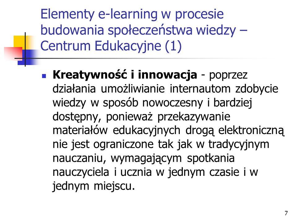 Elementy e-learning w procesie budowania społeczeństwa wiedzy – Centrum Edukacyjne (1)