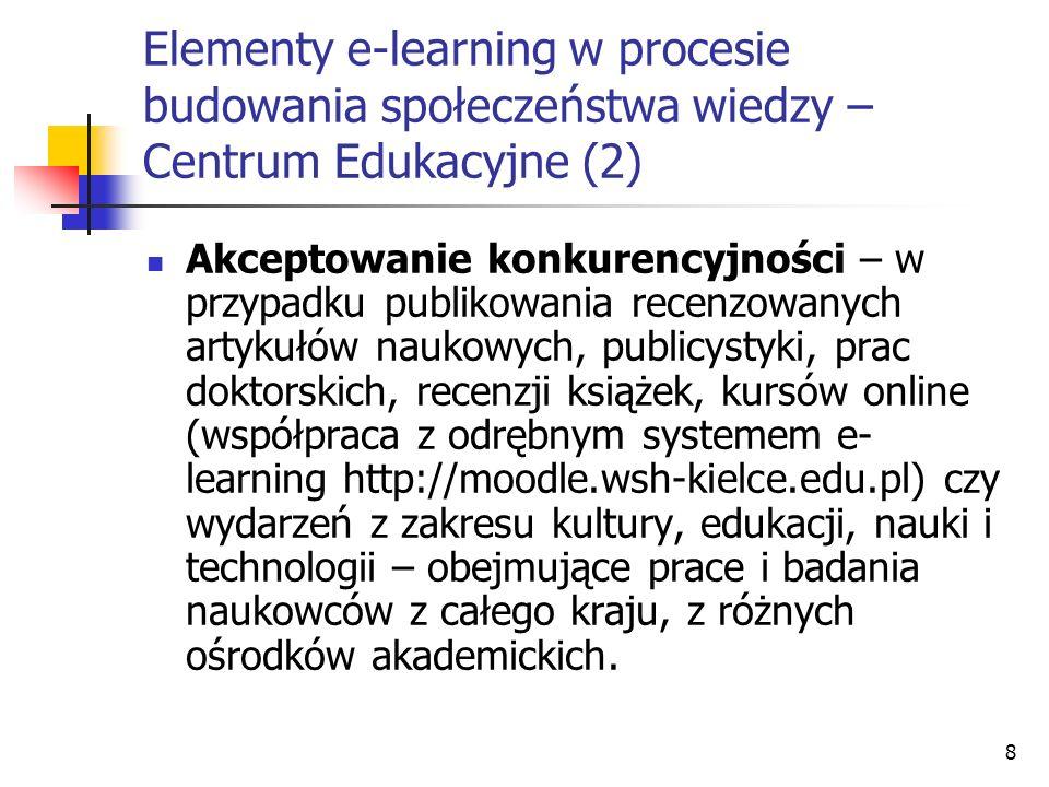 Elementy e-learning w procesie budowania społeczeństwa wiedzy – Centrum Edukacyjne (2)