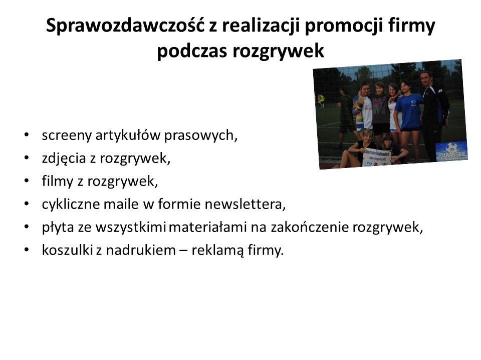 Sprawozdawczość z realizacji promocji firmy podczas rozgrywek