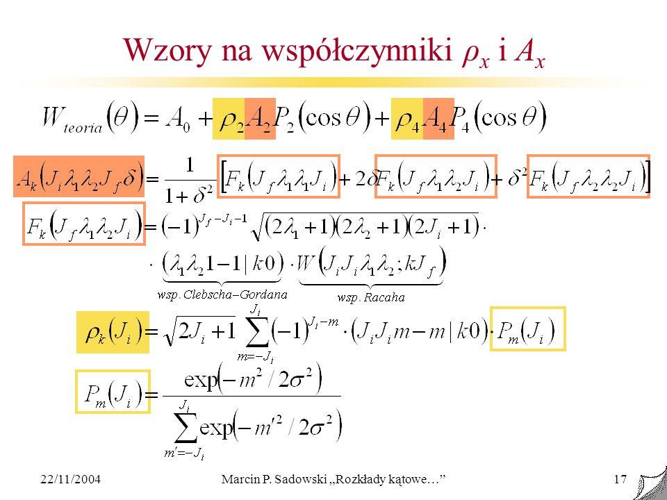 Wzory na współczynniki ρx i Ax
