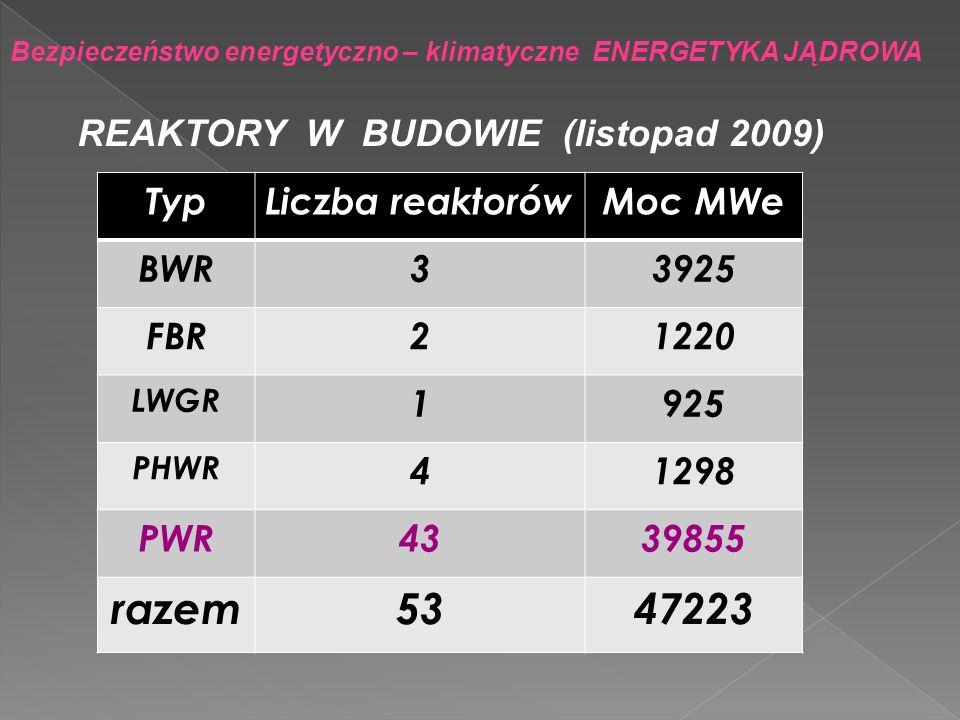 razem 53 47223 REAKTORY W BUDOWIE (listopad 2009) Typ Liczba reaktorów
