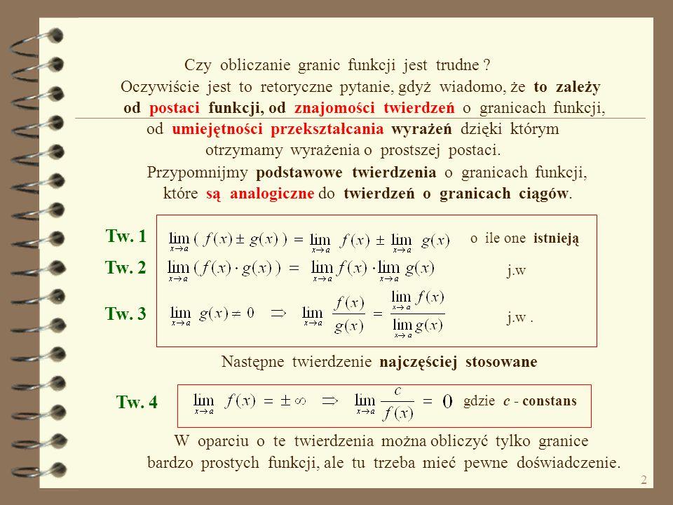 Tw. 1 Tw. 2 Tw. 3 Tw. 4 Czy obliczanie granic funkcji jest trudne