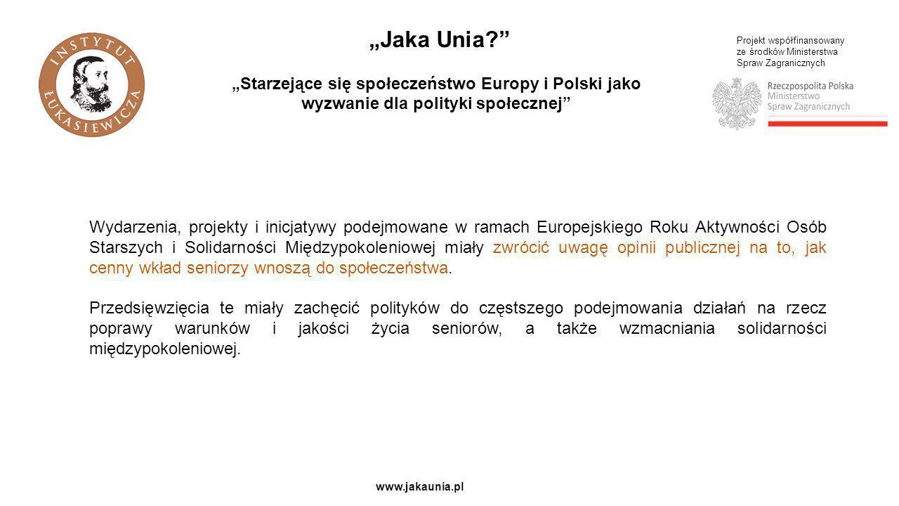 """""""Jaka Unia """"Starzejące się społeczeństwo Europy i Polski jako wyzwanie dla polityki społecznej Projekt współfinansowany."""