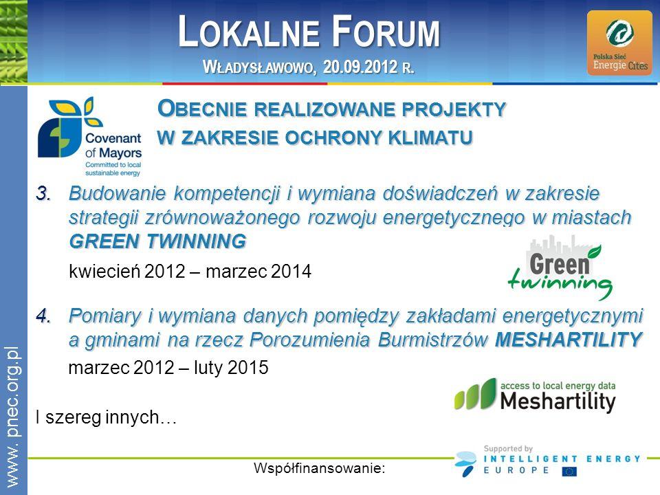 Lokalne Forum Obecnie realizowane projekty w zakresie ochrony klimatu
