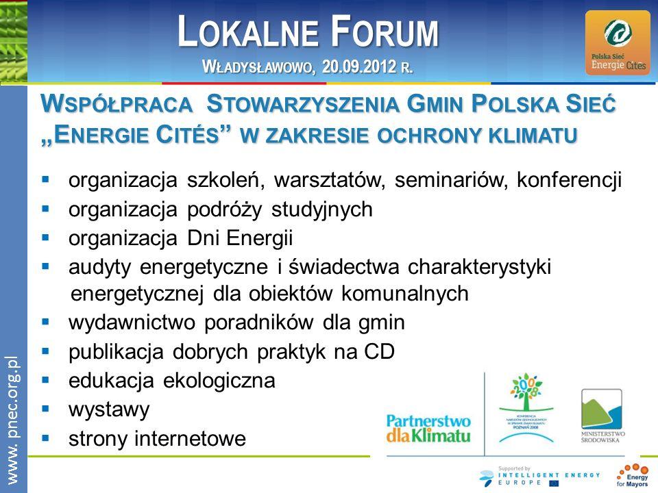 """Lokalne Forum Władysławowo, 20.09.2012 r. Współpraca Stowarzyszenia Gmin Polska Sieć """"Energie Cités w zakresie ochrony klimatu."""