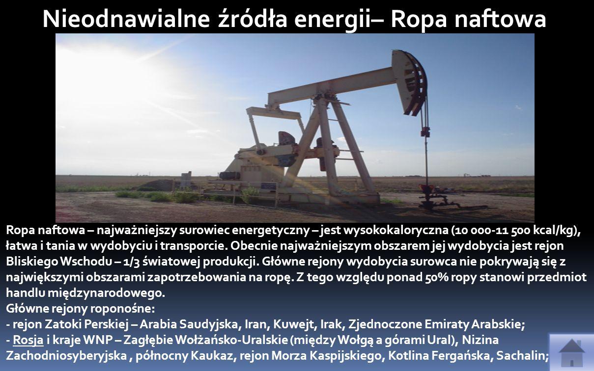 Nieodnawialne źródła energii– Ropa naftowa