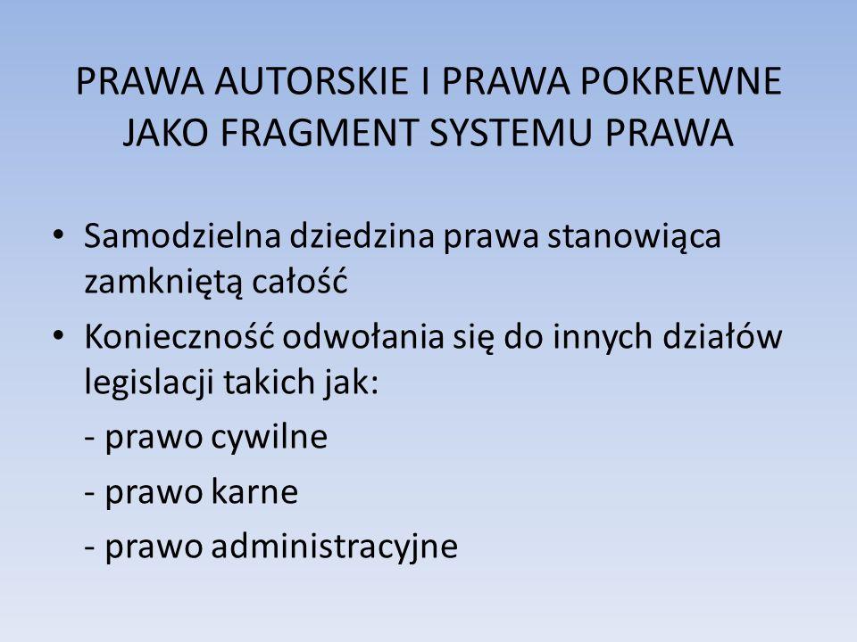PRAWA AUTORSKIE I PRAWA POKREWNE JAKO FRAGMENT SYSTEMU PRAWA
