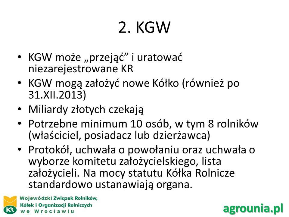 """2. KGW agrounia.pl KGW może """"przejąć i uratować niezarejestrowane KR"""