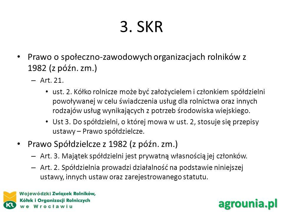 3. SKR Prawo o społeczno-zawodowych organizacjach rolników z 1982 (z późn. zm.) Art. 21.