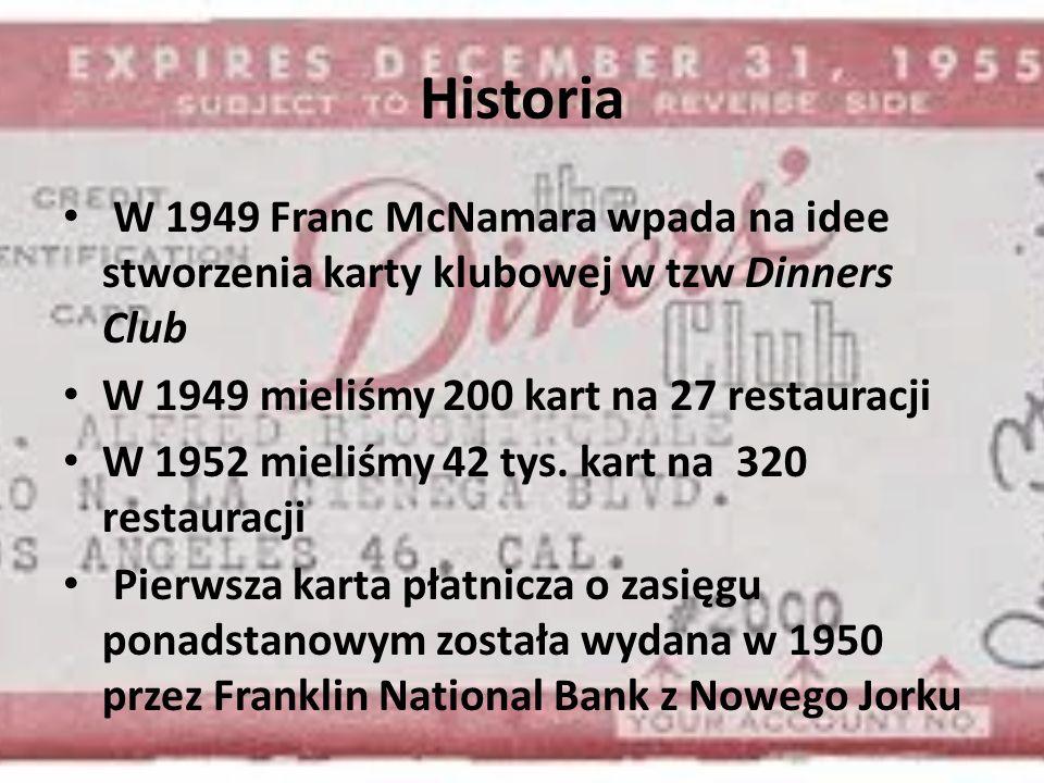 Historia W 1949 Franc McNamara wpada na idee stworzenia karty klubowej w tzw Dinners Club. W 1949 mieliśmy 200 kart na 27 restauracji.