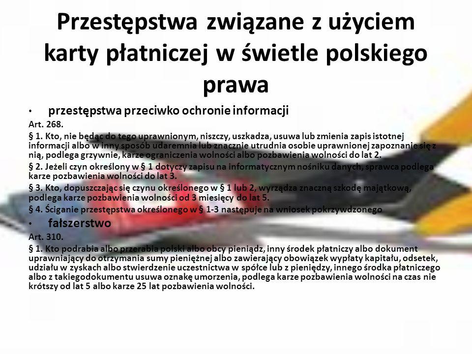 Przestępstwa związane z użyciem karty płatniczej w świetle polskiego prawa