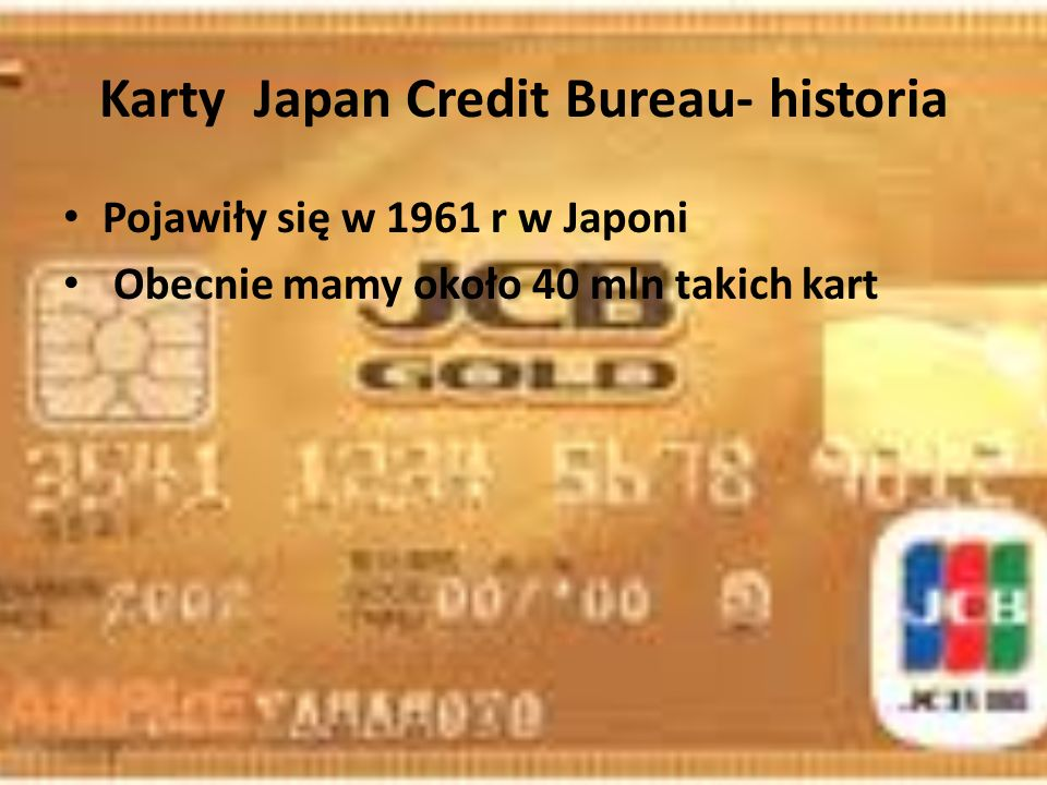 Karty Japan Credit Bureau- historia