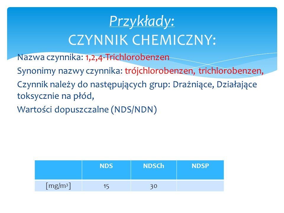 Przykłady: CZYNNIK CHEMICZNY: