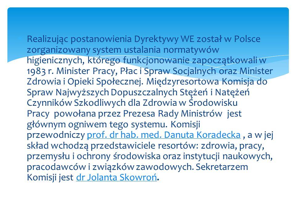 Realizując postanowienia Dyrektywy WE został w Polsce zorganizowany system ustalania normatywów higienicznych, którego funkcjonowanie zapoczątkowali w 1983 r.