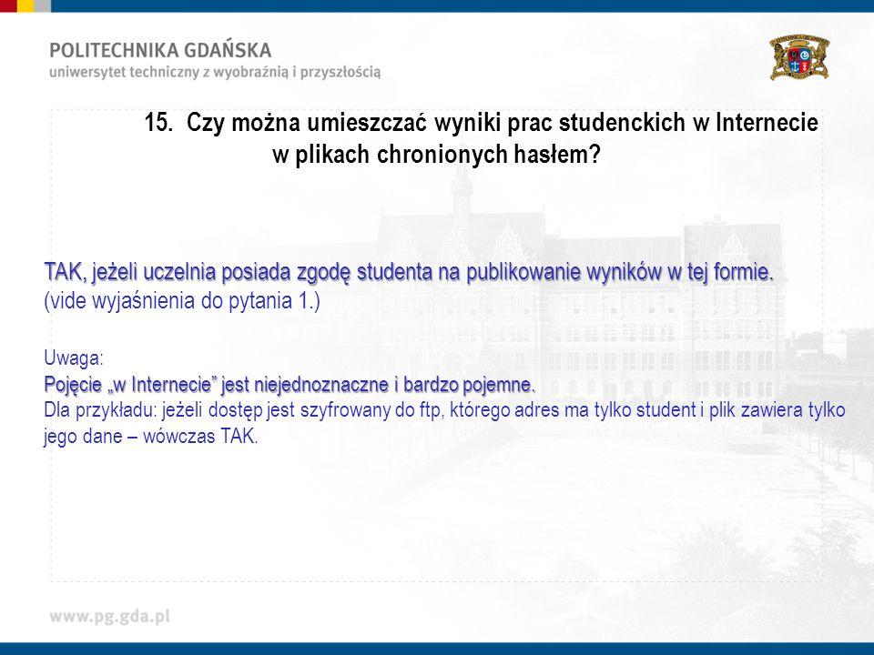 15. Czy można umieszczać wyniki prac studenckich w Internecie w plikach chronionych hasłem