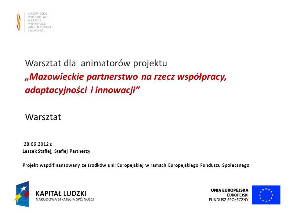"""Warsztat dla animatorów projektu """"Mazowieckie partnerstwo na rzecz współpracy, adaptacyjności i innowacji Warsztat"""