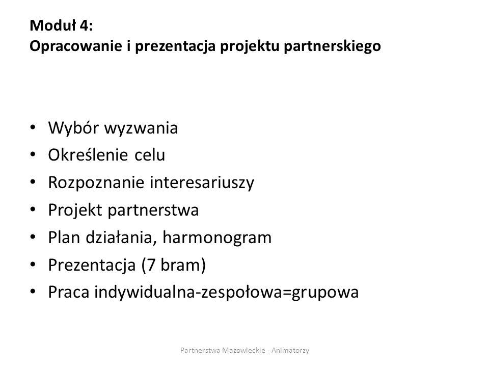 Moduł 4: Opracowanie i prezentacja projektu partnerskiego