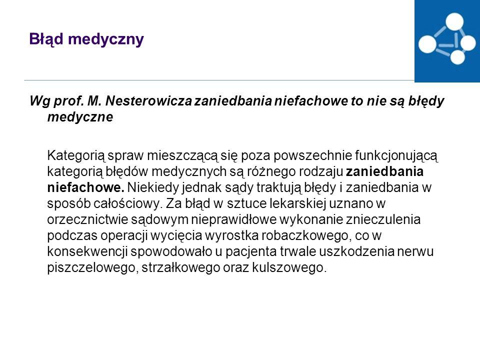 Błąd medyczny Wg prof. M. Nesterowicza zaniedbania niefachowe to nie są błędy medyczne.