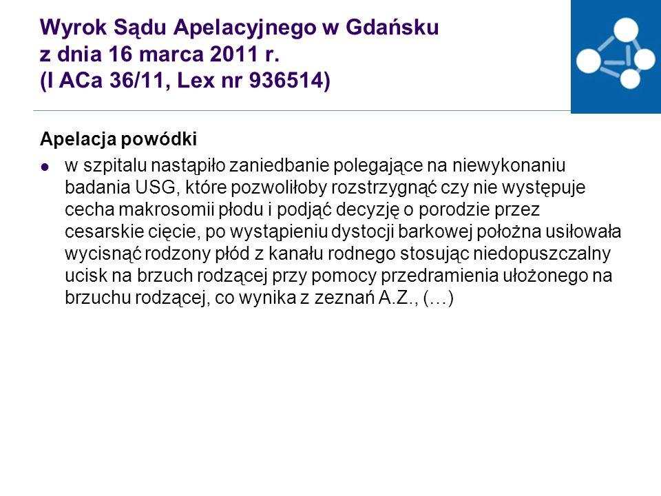 Wyrok Sądu Apelacyjnego w Gdańsku z dnia 16 marca 2011 r