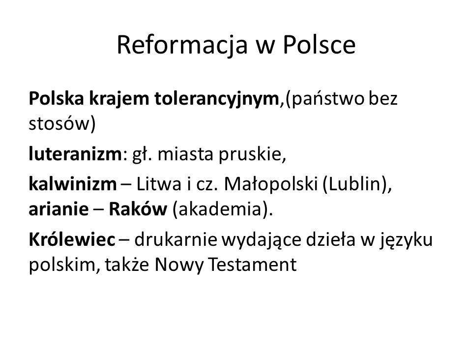 Reformacja w Polsce Polska krajem tolerancyjnym,(państwo bez stosów)