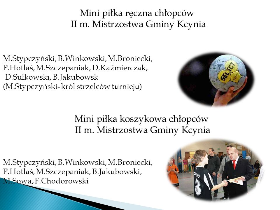Mini piłka ręczna chłopców II m. Mistrzostwa Gminy Kcynia