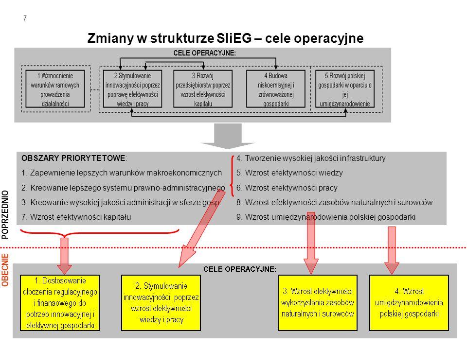 Zmiany w strukturze SIiEG – cele operacyjne