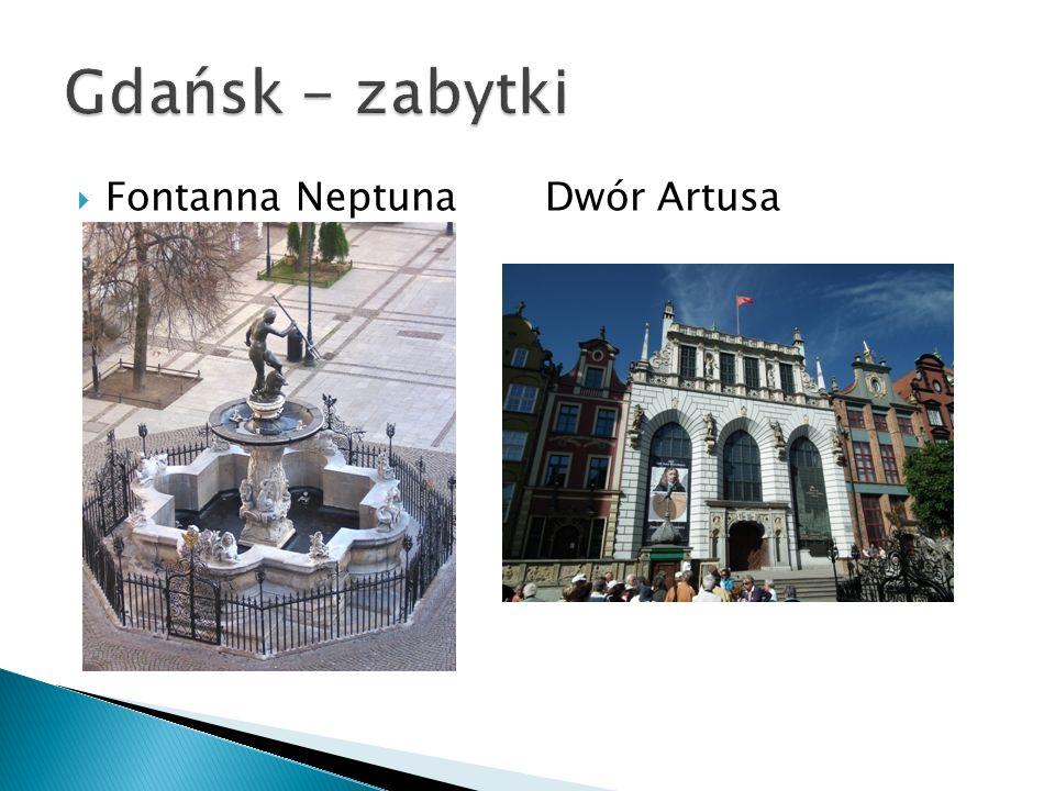 Gdańsk - zabytki Fontanna Neptuna Dwór Artusa