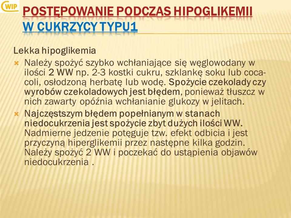 Postępowanie podczas hipoglikemii w cukrzycy typu1