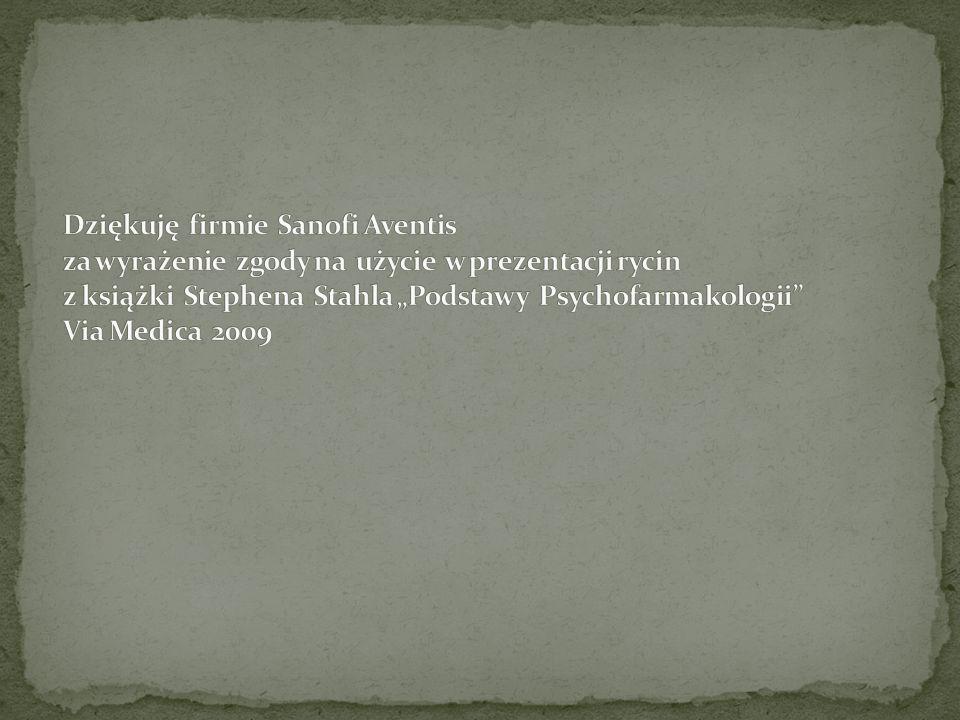 """Dziękuję firmie Sanofi Aventis za wyrażenie zgody na użycie w prezentacji rycin z książki Stephena Stahla """"Podstawy Psychofarmakologii Via Medica 2009"""