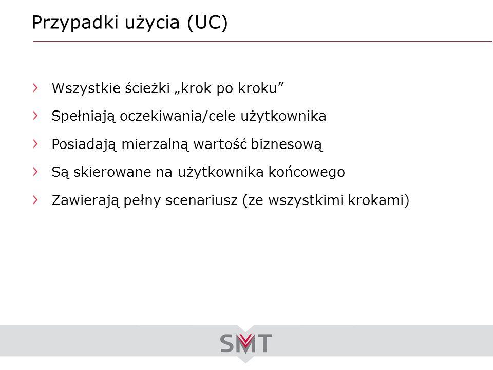 """Przypadki użycia (UC) Wszystkie ścieżki """"krok po kroku"""