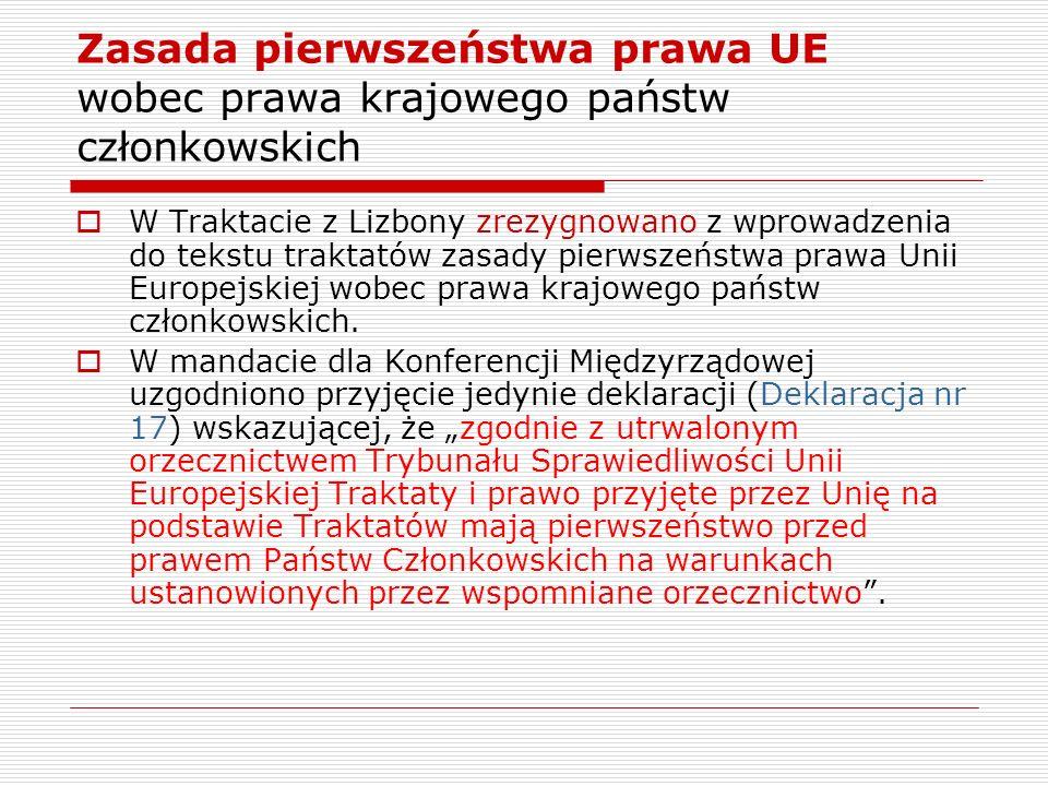 Zasada pierwszeństwa prawa UE wobec prawa krajowego państw członkowskich