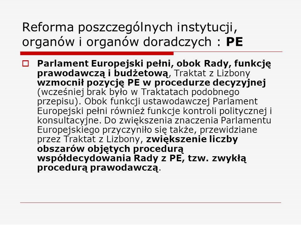 Reforma poszczególnych instytucji, organów i organów doradczych : PE