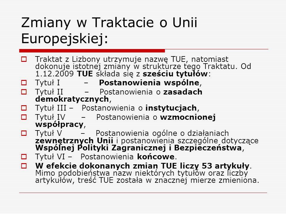 Zmiany w Traktacie o Unii Europejskiej: