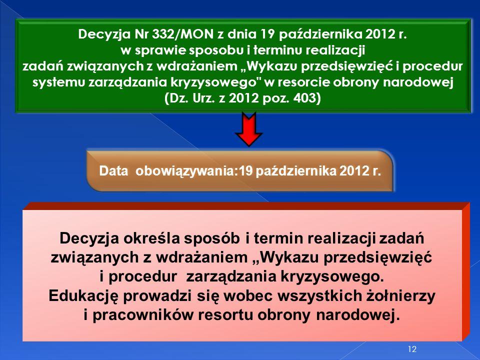 Decyzja Nr 332/MON z dnia 19 października 2012 r