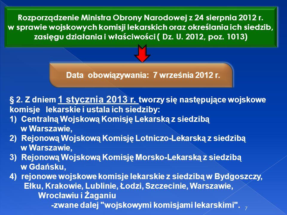 Rozporządzenie Ministra Obrony Narodowej z 24 sierpnia 2012 r