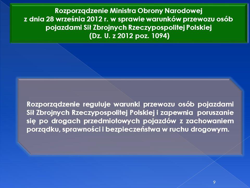 Rozporządzenie Ministra Obrony Narodowej z dnia 28 września 2012 r