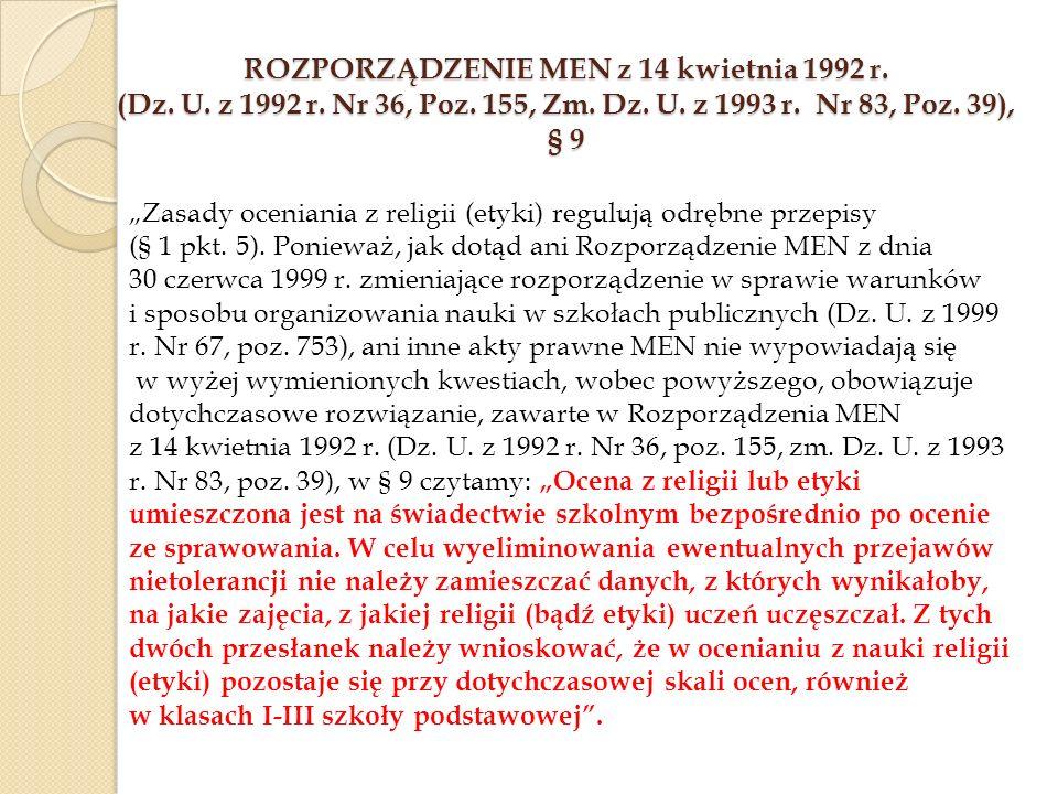 Rozporządzenie MEN z 14 kwietnia 1992 r. (Dz. U. z 1992 r. Nr 36, Poz