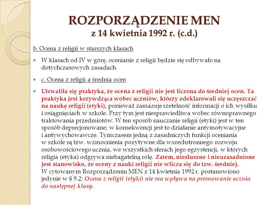 Rozporządzenie MEN z 14 kwietnia 1992 r. (c.d.)