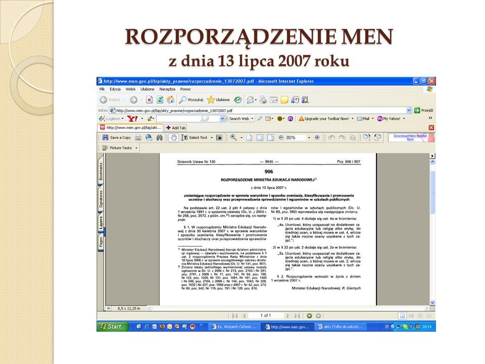 Rozporządzenie MEN z dnia 13 lipca 2007 roku